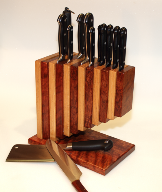 Knife Block in Bubinga and Red Oak
